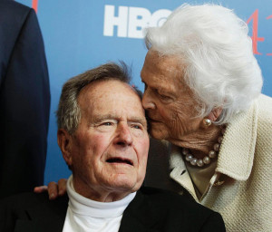 ... george h w bush was joined by his wife former first lady barbara bush