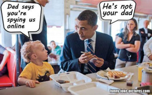 Funny Obama Child Dad Spying Online Picture