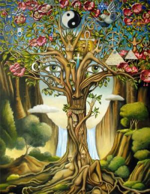 love tree hippie boho peace ying yang