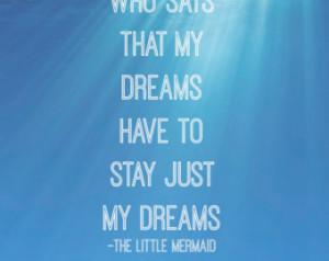 The Little Mermaid Dreams Ariel Inspired Under Water Disney Typography ...