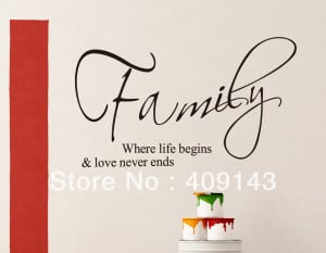 family where life begins small wall art stickers quotes home ...