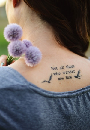 Tattoo, flowers, lord of the rings, quote,
