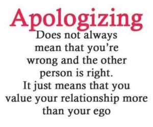 Apologizing does not always mean.....