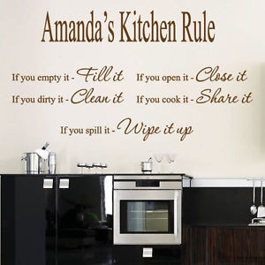 ... Name Kitchen Rule Art Wall Quotes / Wall Stickers/ Wall Decals