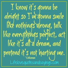 alright so I'm gonna smile like nothings wrong, talk like everythings ...