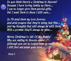 Merry Christmas Quotes For Loved Ones In Heaven ~ Quotes & Sayings ...