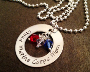 READY TO SHIP Proud Marine Corps Mo m Necklace personalized ...