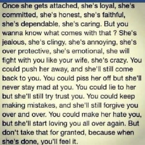 Don't take her for granted