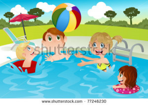 ... illustration of a happy family playing in swimming pool - stock vector