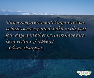 Two non-governmental organization vehicles were reported stolen
