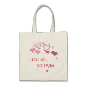 Love my Stepmom - Cute Pink Lovehearts Tote Bags