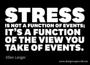 Quote on stress being a function of the view you take of events by ...