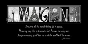 ... Photography - Imagine quote by John Lennon -10x20 print unframed