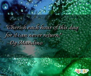 Cherish each hour of this day for it can never return .