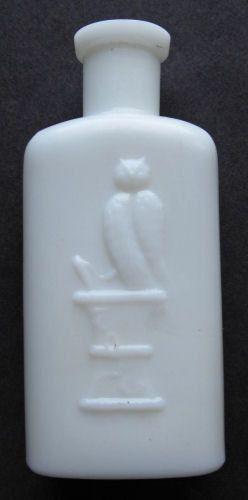 WHITE Milk Glass OWL DRUG Co Antique Bottle w/ pic Owl on druggist ...