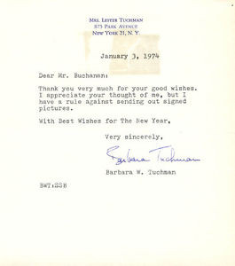 BARBARA W TUCHMAN TYPED LETTER SIGNED 01 03 1974