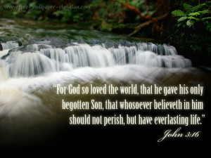 John 3 16 bible verse wallpaper with water falls nature background