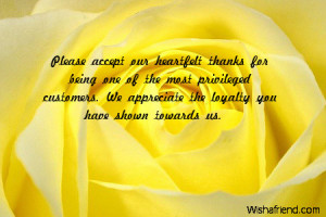 Please accept our heartfelt thanks for being one of the most ...