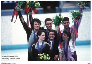 katia gordeeva, sergei grinkov, 1994 olympics, podium