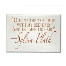 Plath Redheaded Quote Rectangle Magnet for