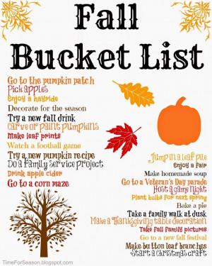 Time For Seasons: Printable Fall Bucket List