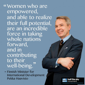 ... Pekka Haavisto explains why gender equality is an important priority