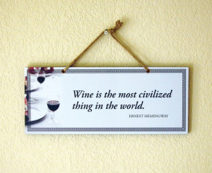 Decorative Wall Plate with Famous Wine Quote