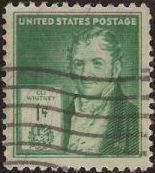 Green 1 cent U S postage stamp picturing Eli Whitney