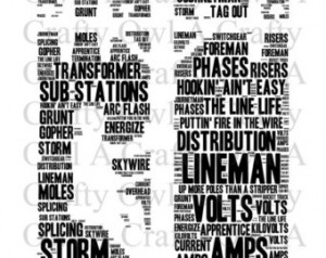 Power Lineman Word Cloud - INSTANT DOWNLOAD ...