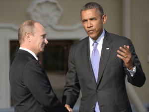 Russian President Vladimir Putin, left, welcomes President Obama at ...