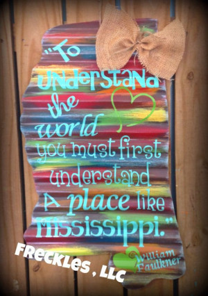 ... of Mississippi silhouette w/ Faulkner by PeaceLoveFreckles, $39.95