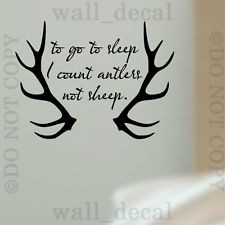 ... Sleep I Count Antlers Vinyl Wall Decal Sticker Quote Hunting Nursery