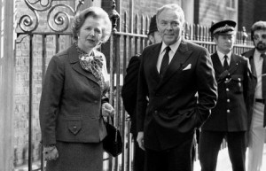 ... as he arrives at 10 Downing Street for talks on the Falklands crisis