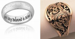 Engraved rings and pendants for Mother's Day