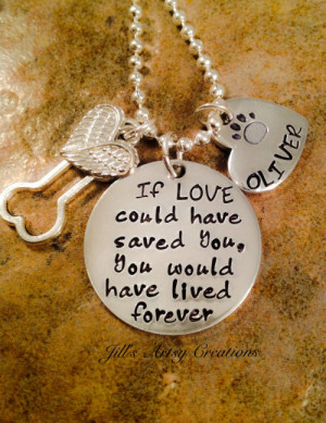 Pet Loss Necklace, Dog, Cat Loss Necklace, If Love Could Have Saved ...
