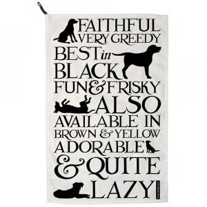 Black Toast Labrador Tea Towel