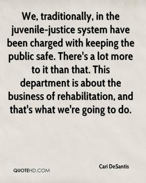 Cari DeSantis - We, traditionally, in the juvenile-justice system have ...