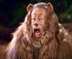 Cowardly lion in The Wizard of Oz (Click here for video)