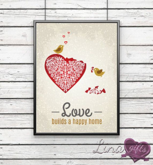LOVE builds a HAPPY HOME family quote love birds by LinaGifts, £7.30