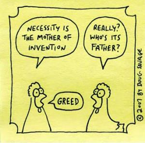 Joke, Humor Cartoon on greed.