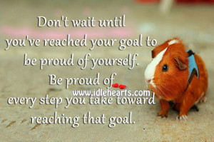 Don't wait until you've reached your goal to be proud of yourself ...