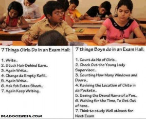 Girls vs Boys in an Exam Hall. Things most girls do in an Exam Hall ...