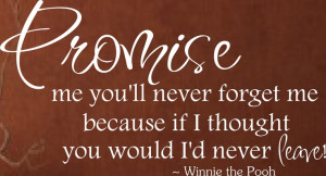 Promise Me You'll Never Forget Me - Winnie the Pooh Quote Vinyl Wall ...