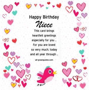 Free Birthday Cards For Niece - Happy Birthday Niece