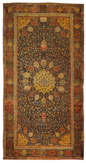 quote from the Persian poet Hafiz is inscribed onto the rug ...