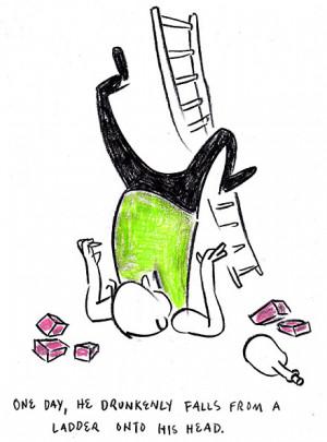 Tim Finnegan falls off his ladder in a scene from James Joyce's ...