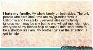 Self-esteem - I hate my family.