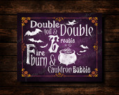 Double Double Toil and Trouble - Chalkboard Halloween Party Sign or ...