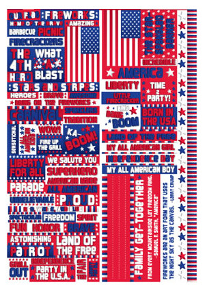 ... Collection - Die Cut Cardstock Stickers - Stars and Stripes Quote