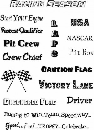 ... about Scrapbook NASCAR RACING Words/Sayings on Vellum Paper NEW SMDTS
